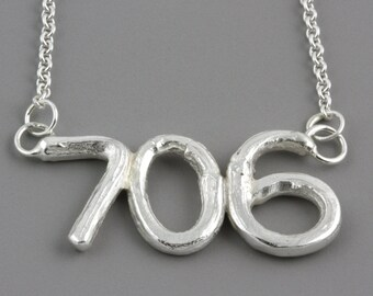 Personalized Sterling Silver Area Code Twig Pendant - Branch Pendant Customized to Your City or Town - Made to Order, Your Choice of Numbers