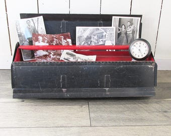 """Old Charcoal Gray & Red Metal Toolbox with Removable Tray """"Industrial Chic Storage"""""""