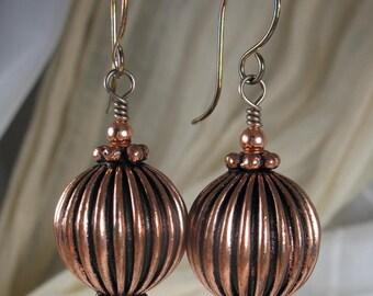 Copper Earrings ~ Copper & Sterling Silver Earrings ~ Copper Jewelry ~ Dangle Earrings ~ Drop Earrings