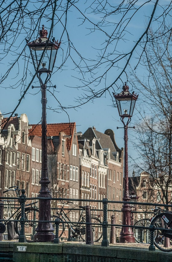 Amsterdam Photography, Lamppost, Fine Art Print, Architecture Photograph, Rustic Decor