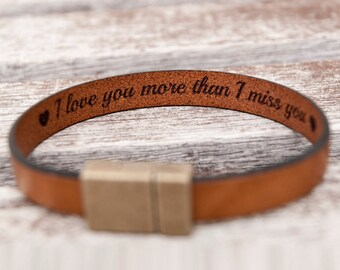 Gift For Boyfriend Gift for Him Personalized Fathers Day Gift Hidden Secret Message Bracelet Mens Personalized Leather Bracelet Mens Gift