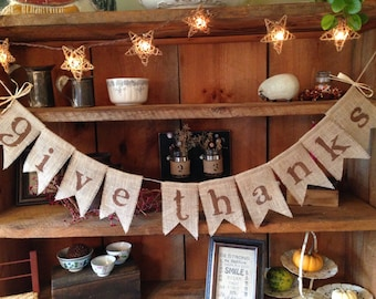 Give Thanks Banner, Brown Give Thanks Bunting, Thanksgiving Banner, Thanksgiving Garland, Autumn Bunting, Thankful Bunting