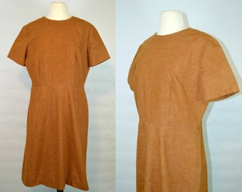 1960s Brown Cotton Day Shift Dress, Retro, Housewife, Every Day Wear