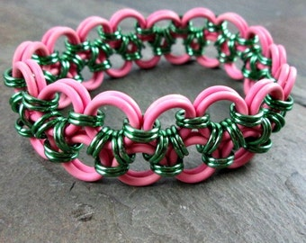 Chainmaille Bracelet - Stretchy Pink Cuff- Chainmaille Jewelry - Pink Rubber Bracelet