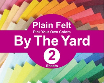 2 YARDS Plain Felt Fabric - pick your own colors (A1y)
