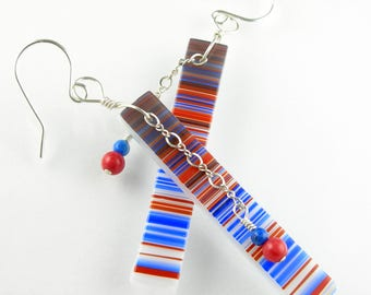 Patriotic Red White Blue Fused Glass Long Dangle Statement Earrings with Gemstones in Sterling Silver