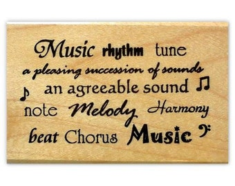 MUSIC WORDS mounted rubber stamp, rhythm, tune, note, chorus, harmony, melody, musical, Sweet Grass Stamps No.10