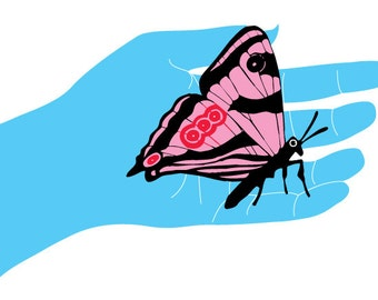 Butterfly Hand Giclee Art Print of an Original Illustration - limited edition