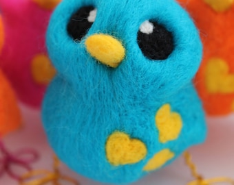 Needle Felted Blue Bird Bright Turquoise Bird Ornament
