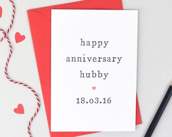 Happy Anniversary Wifey or Hubby Personalised Card - Anniversary Card - Personalised Card - Wife Anniversary Card - Husband Anniversary Card