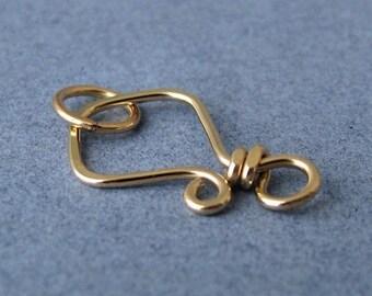 Small Hook Clasp 14k Gold Filled, Handmade Artisan Aztec, 20 gauge