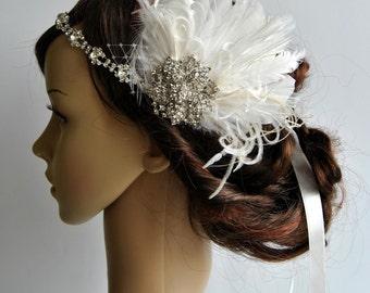 Rhinestone flapper headpiece ,Great Gatsby  flapper Headpiece, Wedding Bridal 1920s Headpiece ,Rhinestone headband, Ivory Feather Fascinator