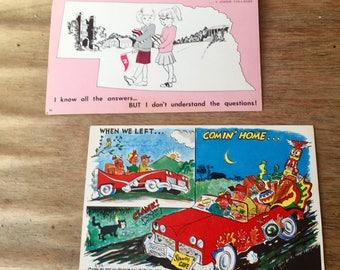 Two Unused, Uncancelled Vintage Comic Postcards