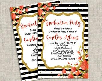 Elegant Graduation Party Invitations, Floral Graduation Dinner Invitation, Printable Graduation Invite, Printed Graduation Dinner Invites