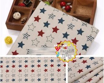 1 x coupon 50x145cm star print pattern pure linen fabric