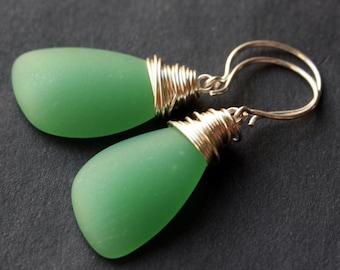 Sea Green Seaglass Earrings. Sea Green Earrings. Seafoam Green Sea Glass Earrings. Wire Wrapped Wing Earrings. Handmade Jewelry.