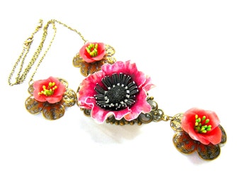 Necklace Summer Flowers Camelias and Poppy