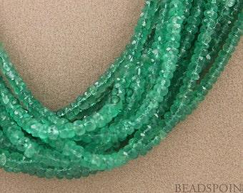 "Natural "" NO TREATMENT"" Genuine Columbian Emeralds,  Lux Green, Faceted Rondelles 3-4mm, 25 Pieces, (25EMR3-4FRNDL)"