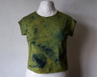Green cropped tshirt top festival clothing boho womens raw hem earthy natural dyes rustic minimalist hippie gaia earthy bohemian gypsy eco