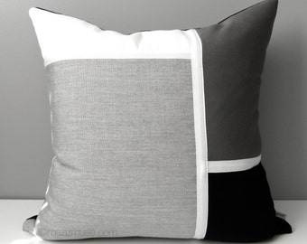 Black White & Grey Outdoor Pillow Cover, Modern Sunbrella Pillow Cover, Decorative Color Block Pillow Cover, Gray Cushion Cover, Mazizmuse
