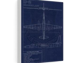 U-2 Vintage Style Blueprint Canvas Gallery Wraps