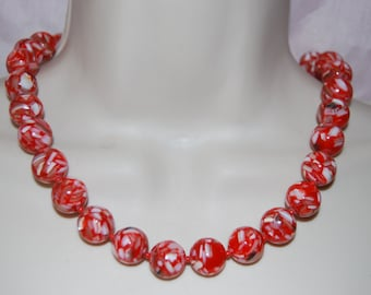 Mosaic Spotted Orange Statement Necklace Chunky Beaded Bold Necklace Jewelry