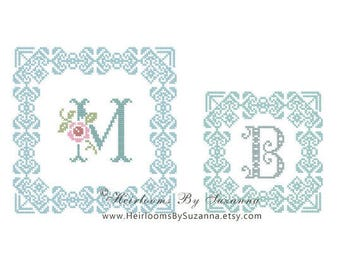Original Machine Cross Stitch Frame for Monograms - Machine Embroidery Design - Great for Small Decorative Pillows, Weddings - HBS-423-XFRM