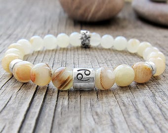 Cancer bracelet Cancer zodiac sign Cancer constellation jewelry July birthstone Onyx bracelet Mother's gifts for daughter  jewellery