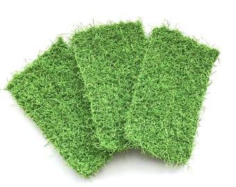Dish Scrubby, Dish Scrubbies, Green Crochet Scrubbies, Pot Scrubber, Eco Friendly Kitchen Scrubby, Cleaning, Set  of 3, Stocking Stuffers