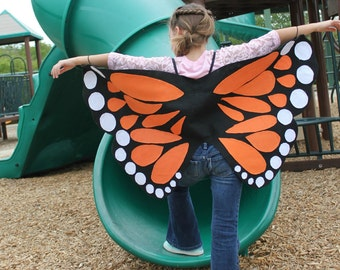 Monarch Butterfly Wings Costume Age 1 to Adult