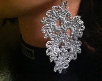 Crochet Silver Shimmer earrings