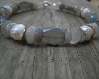 Moonstone, Golden Rutilated Quartz, and Pearl Bracelet