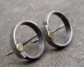 Silver Earrings - Sterling Silver and Gold Earrings - textured sterling silver hoop earrings - silver and gold geometric dangles - circles