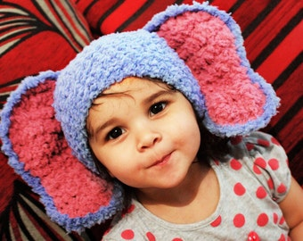 3 to 6m Elephant Hat Baby Hat Crochet Blue Baby Hat Elephant Baby Beanie Blue Raspberry Crochet Animal Hat Photo Prop