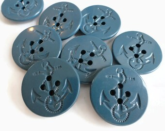 Pea Coat Vintage Buttons 10 Indigo Blue 1.25 inch for Jewelry Supplies Beads Sewing Knitting