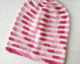 Pink slouchy beanie, light slouchy cotton hat, vegan hat