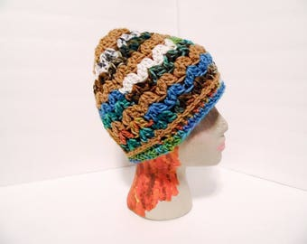 Messy Bun Hat, Amazon Rainforest Blues & Browns Colors, ponytail beanie, teen girl gift, beach hat, crochet bun hat