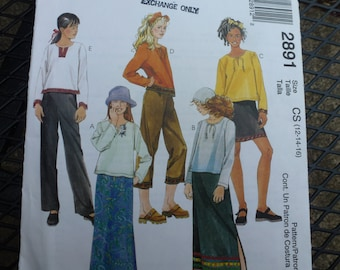 Vintage Easy McCalls Pattern 2891  Girls Shirt, Skirt and  Pants in Two Lengths Size 12-14-16  UNCUT   Dated 1984