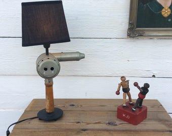 Lamp vintage industrial upcycled a Hairdresser hairdryer