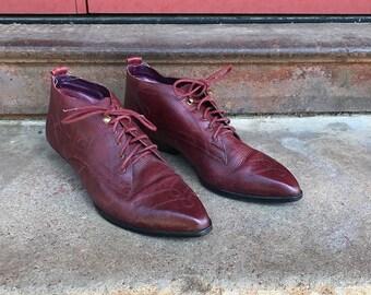 Vintage Capezio Maroon Leather Ankle Boots | US WOMEN'S 9 10