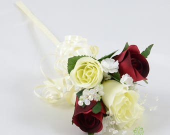 Artificial Wedding Flowers, Burgundy & Ivory Rose Flower Girl Wand