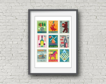 Large 'Stamps' limited edition giclée print.