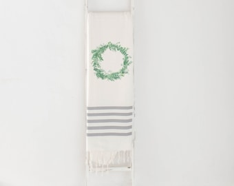 Watercolor Throw Blanket - Greenery Wreath, Lightweight Spring Summer Decor, Made in USA, Living Room, Birthday Present, Gift, Decorative