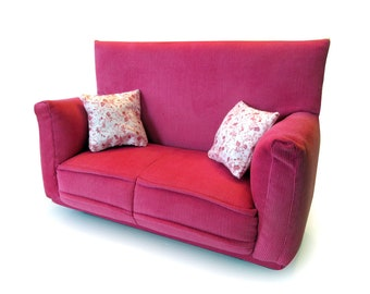 """Barbie Doll Furniture-Sofa with Pillows -1:6 scale-Pink & Pink/White Flower print fabric pillows-also works w/Blythe and 11"""" fashion doll"""