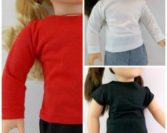 18 inch Doll T shirts Fit American Girl Doll Black Red or White Long or Short Sleeves Shirts
