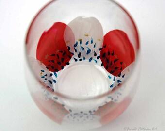 SALE-2 Patriotic Petals Stemless Wine Glasses