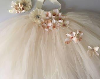 Rustic blush ivory flower girl dress flower girl tutu dress wedding flower girl dress come with headband all kids sizes
