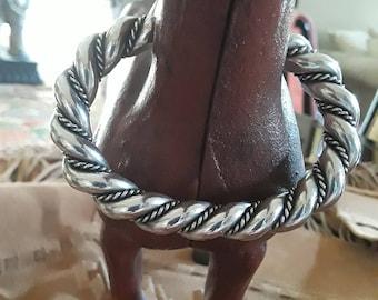 Sterling silver rope twist cuff bracelet