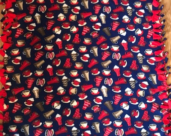 Coffee Latte Cappuccino Hot Cocoa Fleece Tie Blanket