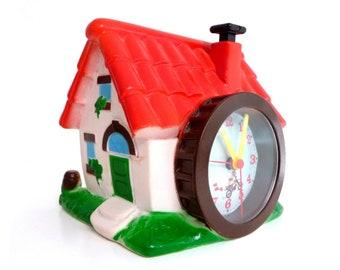 Vintage Italian Alarm Clock - Advertising House Water Mill - Italian Retro 1980s (battery operated)